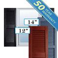 Premium Custom Vinyl Open Louver Window Shutters, w/Shutter Spikes & Screws (Per Pair)
