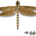 "8 1/2""W x 1 3/4""D x 6""H Michael Healy Dragonfly Door Knocker, Brass and Bronze"