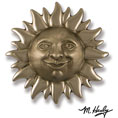 "6 1/2""W x 2""D x 6 1/2""H Michael Healy Sunface Door Knocker, Nickel Silver and Chrome"