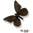 """3 3/4""""W x 3 3/4""""H Michael Healy Butterfly Doorbell Ringer, Oiled Bronze"""