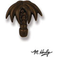 """3""""W x 3""""H Michael Healy Palm Tree Doorbell Ringer, Oiled Bronze"""