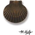 "3""W x 3""H Michael Healy Scallop Doorbell Ringer, Oiled Bronze"