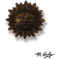 "3 1/4""W x 3 1/4""H Michael Healy Sunface Doorbell Ringer, Oiled Bronze"