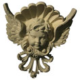 "Approx. 8-1/4"" x 10"" x 2"" Cherub with wings."