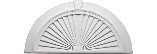 Pediments SUNBURST-WINDOW-PEDIMENT--Half-Round-36--x-18--W-Flat-Trim-and-Keystone