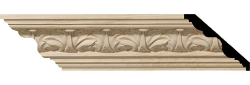 Wooden Crown Moulding 2-1-8-H-x-2-3-8-P-x-3-1-4-F-x-96-L-Acanthus-Leaf-Carved-Wood-Crown-Moulding