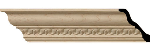 Wooden Crown Moulding 2-3-8-H-x-2-1-4-P-x-3-1-4-F-x-96-L-Lanarkshire-Carved-Wood-Crown-Moulding