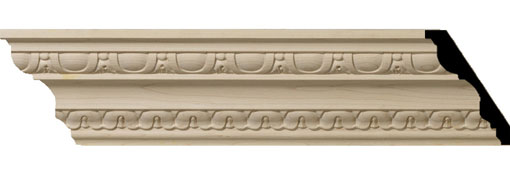 Wooden Crown Moulding 4-H-x-2-7-8-P-x-5-F-x-96-L-Bedford-Carved-Wood-Crown-Moulding