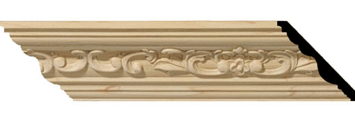 Wooden Crown Moulding 2-1-4-H-x-2-3-8-P-x-3-1-4-F-x-96-L-Medway-Carved-Wood-Crown-Moulding