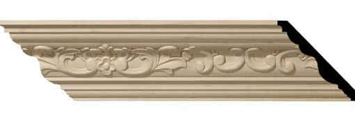 Wooden Crown Moulding 4-3-4-H-x-4-7-8-P-x-6-3-4-F-x-96-L-Medway-Carved-Wood-Crown-Moulding