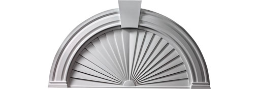 Pediments 29-H-x-54-OW-40-SW-2-1-2--Projection-Panel-Arch-with-Sunburst-and-Keystone